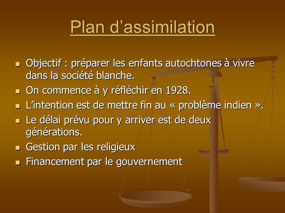 Plan dassimilationPlan dassimilation Objectif : préparer les enfants autochtones à vivre dans la société blanche. Objectif : préparer les enfants auto