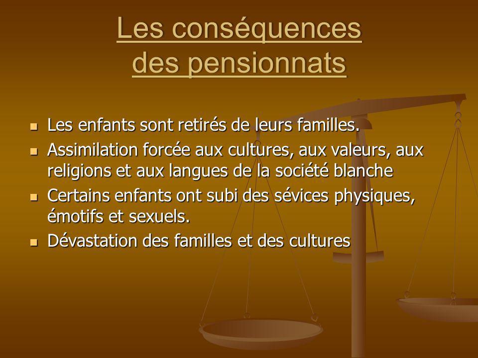 Les conséquences des pensionnats Les enfants sont retirés de leurs familles. Les enfants sont retirés de leurs familles. Assimilation forcée aux cultu