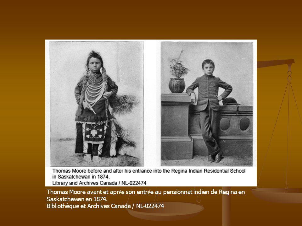 Thomas Moore avant et apr è s son entr é e au pensionnat indien de Regina en Saskatchewan en 1874. Bibliothèque et Archives Canada / NL-022474