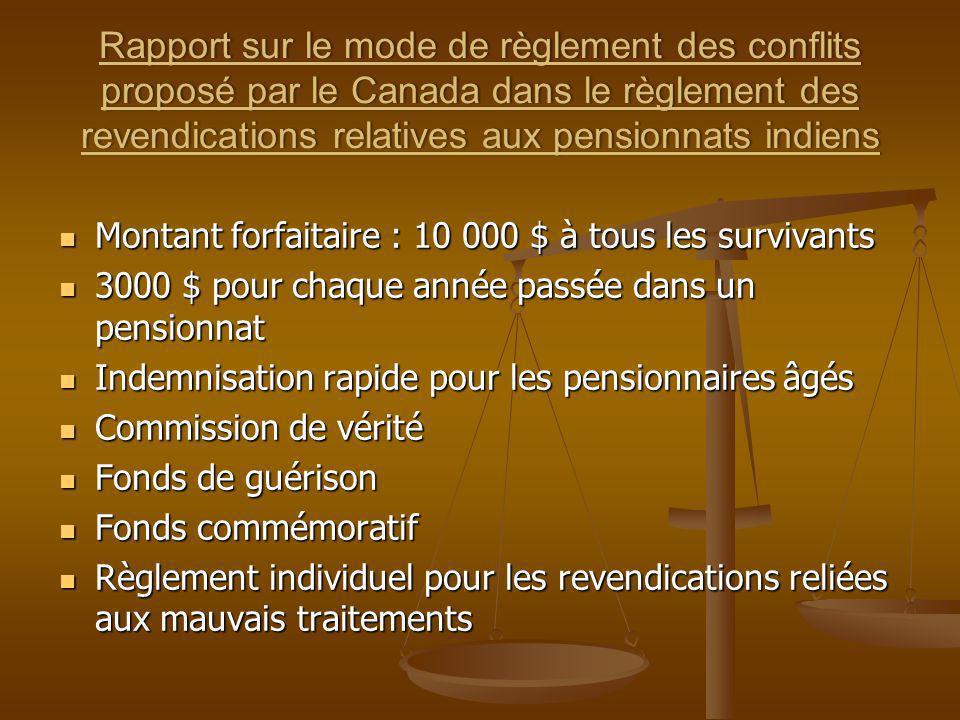 Rapport sur le mode de règlement des conflits proposé par le Canada dans le règlement des revendications relatives aux pensionnats indiens Montant for