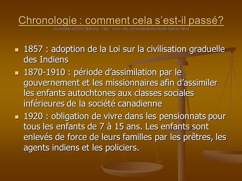 Chronologie : comment cela sest-il passé? Assembly of First Nations - http://www.afn.ca/residentialschools/history.html 1857 : adoption de la Loi sur