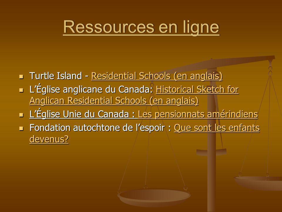 Ressources en ligneRessources en ligne Turtle Island - Residential Schools (en anglais) Turtle Island - Residential Schools (en anglais)Residential Sc