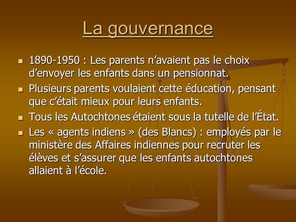 La gouvernance 1890-1950 : Les parents navaient pas le choix denvoyer les enfants dans un pensionnat. 1890-1950 : Les parents navaient pas le choix de