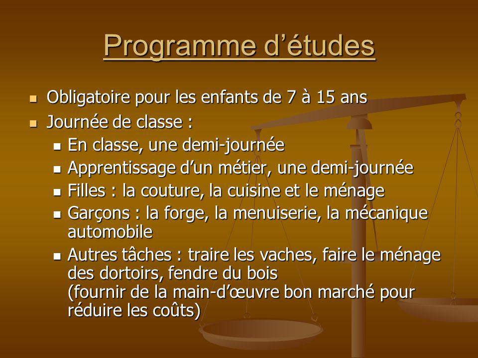 Programme détudes Obligatoire pour les enfants de 7 à 15 ans Obligatoire pour les enfants de 7 à 15 ans Journée de classe : Journée de classe : En cla