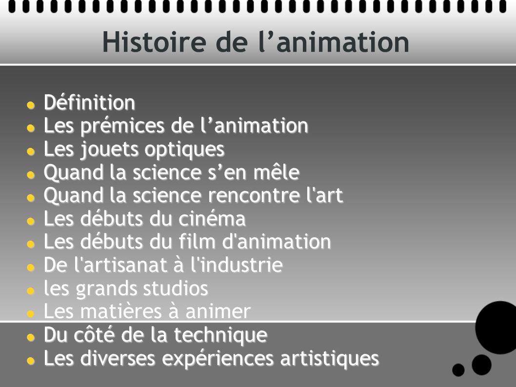 Histoire de lanimation Définition Définition Les prémices de lanimation Les prémices de lanimation Les jouets optiques Les jouets optiques Quand la sc