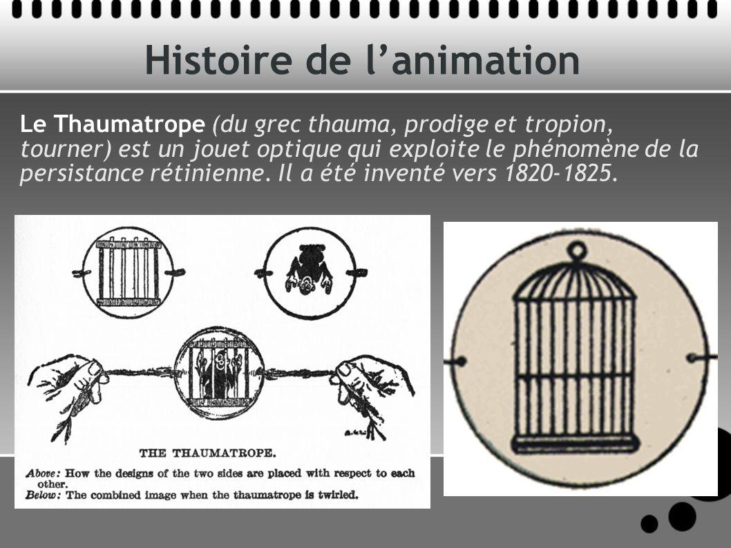 Histoire de lanimation Le Thaumatrope (du grec thauma, prodige et tropion, tourner) est un jouet optique qui exploite le phénomène de la persistance rétinienne.