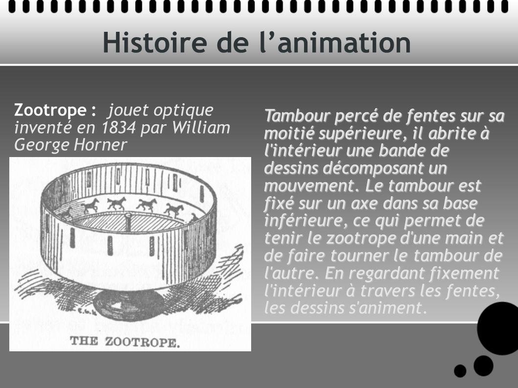Histoire de lanimation Tambour percé de fentes sur sa moitié supérieure, il abrite à l intérieur une bande de dessins décomposant un mouvement.