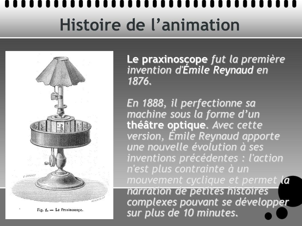 Histoire de lanimation Le praxinoscope fut la première invention d'Émile Reynaud en 1876. En 1888, il perfectionne sa machine sous la forme dun théâtr