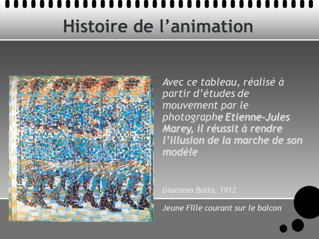 Histoire de lanimation e Etienne-Jules Marey, il réussit à rendre lillusion de la marche de son modèle Avec ce tableau, réalisé à partir détudes de mo