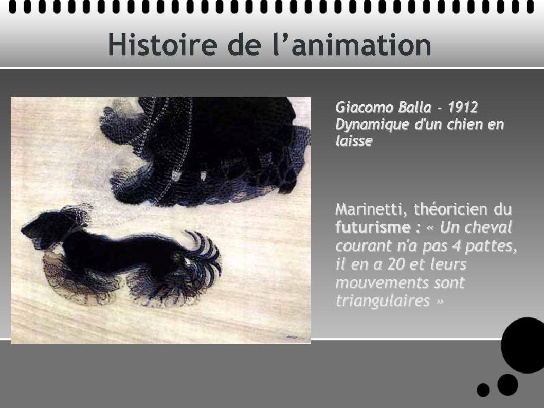Histoire de lanimation Giacomo Balla - 1912 Dynamique d un chien en laisse Marinetti, théoricien du futurisme : « Un cheval courant n a pas 4 pattes, il en a 20 et leurs mouvements sont triangulaires »