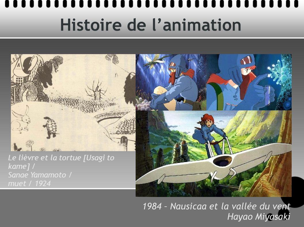 Histoire de lanimation Le lièvre et la tortue [Usagi to kame] / Sanae Yamamoto / muet / 1924 1984 – Nausicaa et la vallée du vent Hayao Miyasaki