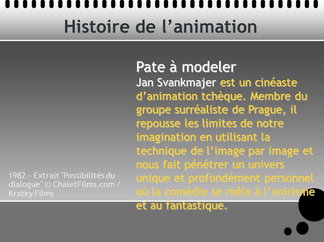 Histoire de lanimation Pate à modeler Jan Svankmajer est un cinéaste danimation tchèque. Membre du groupe surréaliste de Prague, il repousse les limit