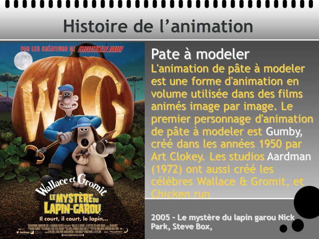 Histoire de lanimation Pate à modeler L animation de pâte à modeler est une forme d animation en volume utilisée dans des films animés image par image.
