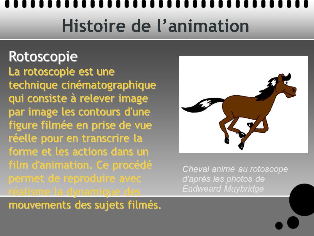 Histoire de lanimation Rotoscopie La rotoscopie est une technique cinématographique qui consiste à relever image par image les contours d une figure filmée en prise de vue réelle pour en transcrire la forme et les actions dans un film d animation.