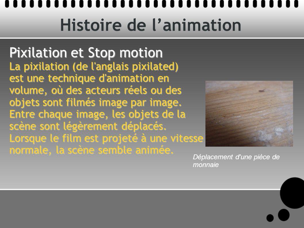 Histoire de lanimation Pixilation et Stop motion La pixilation (de l anglais pixilated) est une technique d animation en volume, où des acteurs réels ou des objets sont filmés image par image.