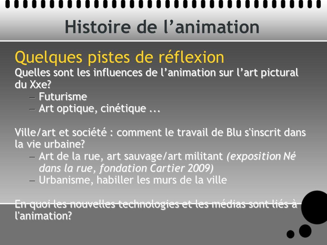 Histoire de lanimation Quelques pistes de réflexion Quelles sont les influences de lanimation sur lart pictural du Xxe? – Futurisme – Art optique, cin