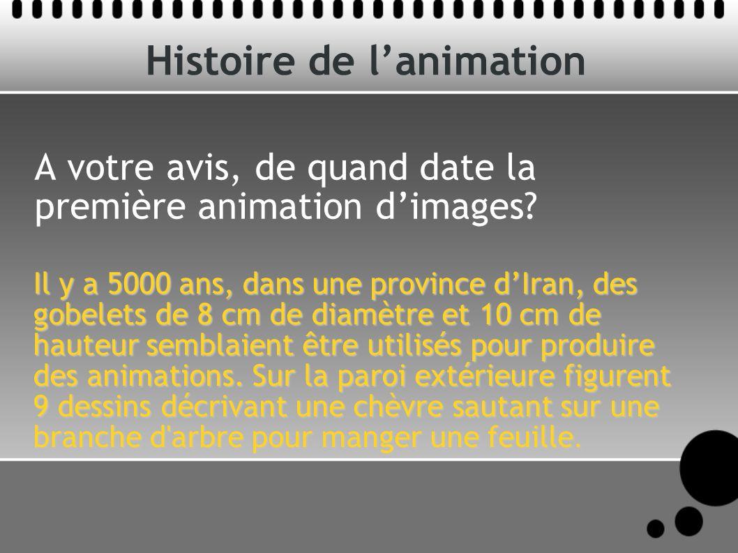 Histoire de lanimation A votre avis, de quand date la première animation dimages? Il y a 5000 ans, dans une province dIran, des gobelets de 8 cm de di