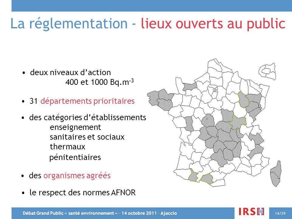 Débat Grand Public « santé environnement » – 14 octobre 2011 – Ajaccio 14/29 La réglementation - lieux ouverts au public 31 départements prioritaires