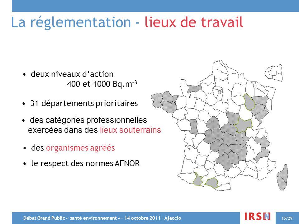 Débat Grand Public « santé environnement » – 14 octobre 2011 – Ajaccio 15/29 La réglementation - lieux de travail 31 départements prioritaires deux ni