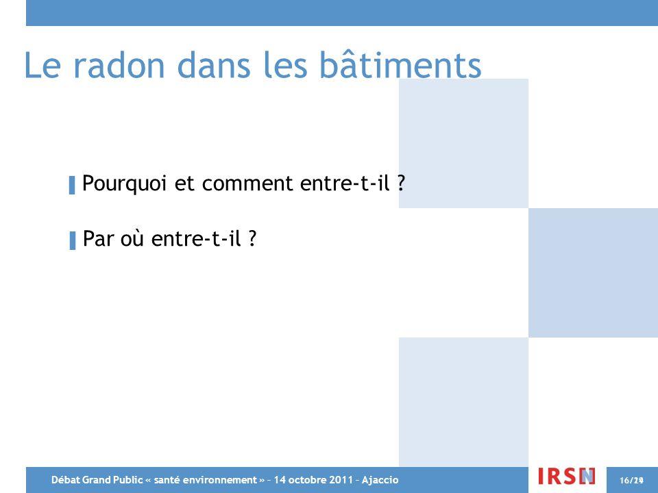 Débat Grand Public « santé environnement » – 14 octobre 2011 – Ajaccio 16/2916/14 Le radon dans les bâtiments Pourquoi et comment entre-t-il ? Par où
