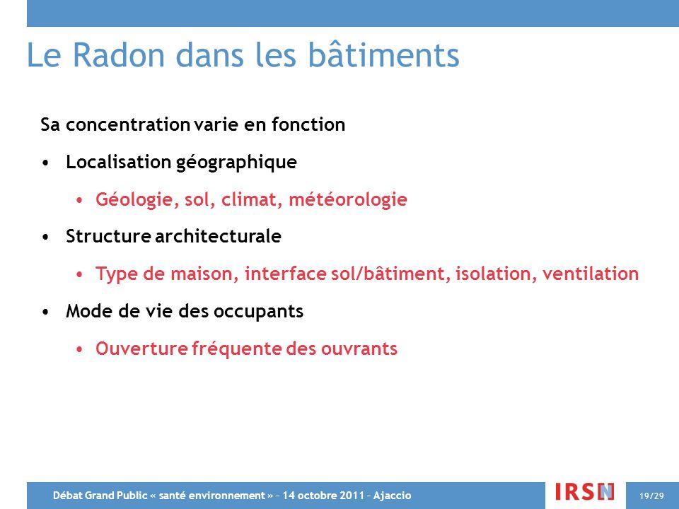 Débat Grand Public « santé environnement » – 14 octobre 2011 – Ajaccio 19/29 Le Radon dans les bâtiments Sa concentration varie en fonction Localisati