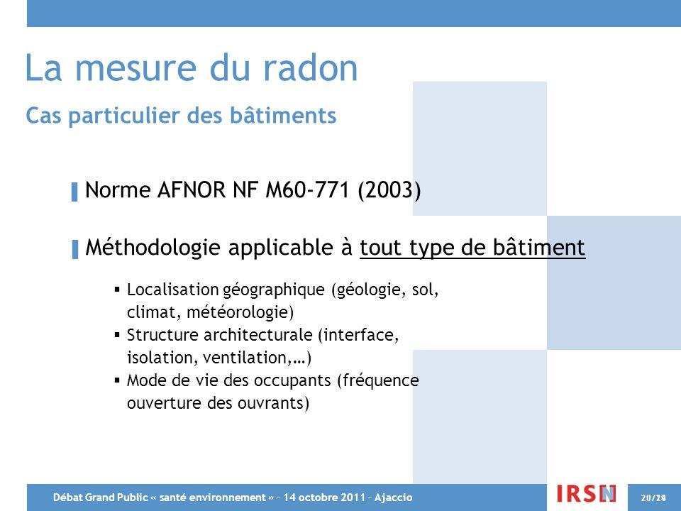Débat Grand Public « santé environnement » – 14 octobre 2011 – Ajaccio 20/2920/14 La mesure du radon Cas particulier des bâtiments Norme AFNOR NF M60-