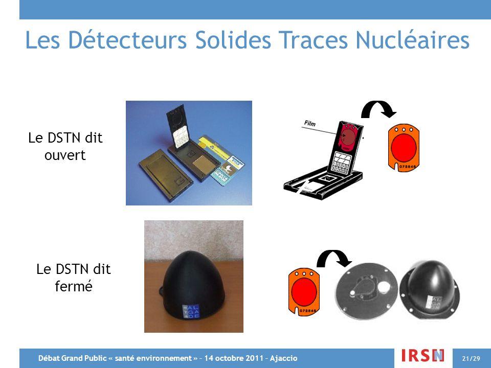 Débat Grand Public « santé environnement » – 14 octobre 2011 – Ajaccio 21/29 Les Détecteurs Solides Traces Nucléaires Le DSTN dit ouvert Le DSTN dit f