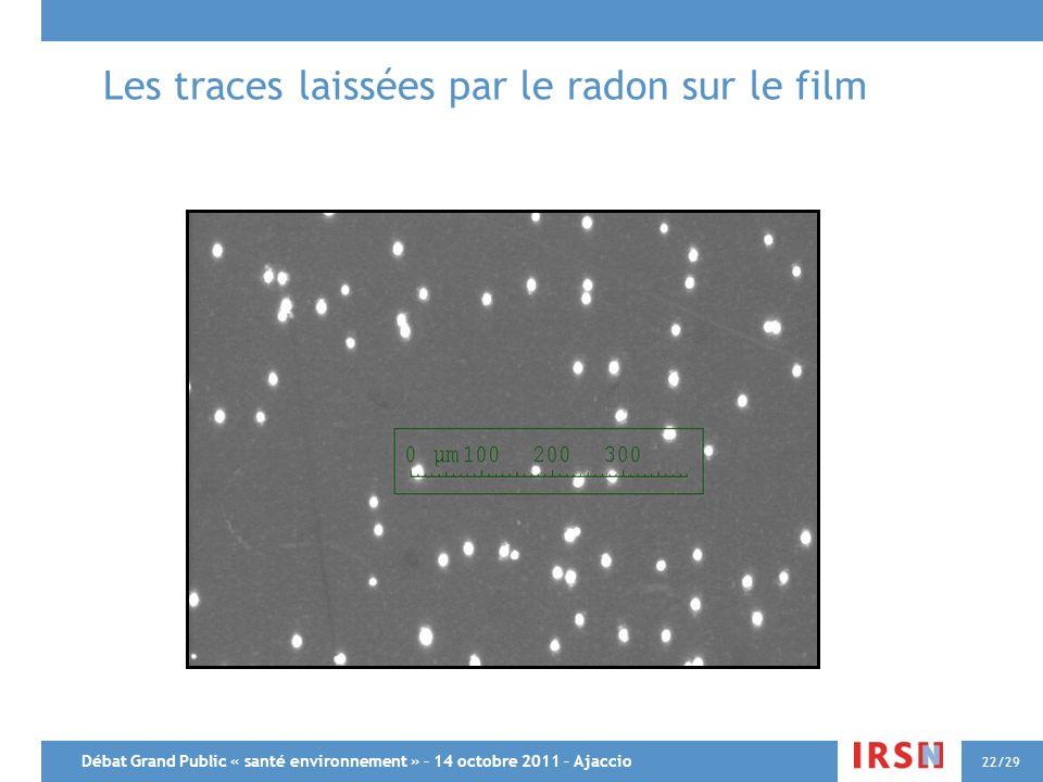 Débat Grand Public « santé environnement » – 14 octobre 2011 – Ajaccio 22/29 Les traces laissées par le radon sur le film
