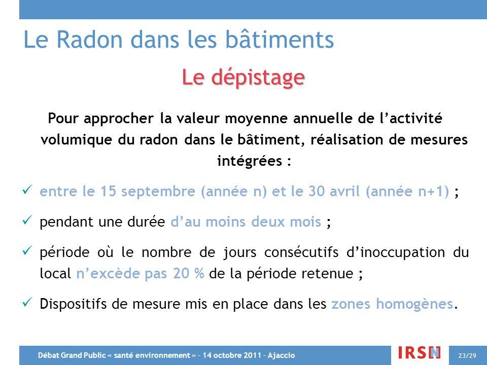 Débat Grand Public « santé environnement » – 14 octobre 2011 – Ajaccio 23/29 Le Radon dans les bâtiments Le dépistage Pour approcher la valeur moyenne