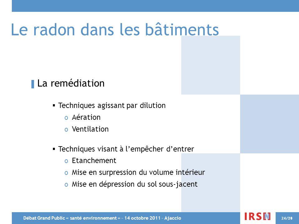 Débat Grand Public « santé environnement » – 14 octobre 2011 – Ajaccio 24/2924/14 Le radon dans les bâtiments La remédiation Techniques agissant par d