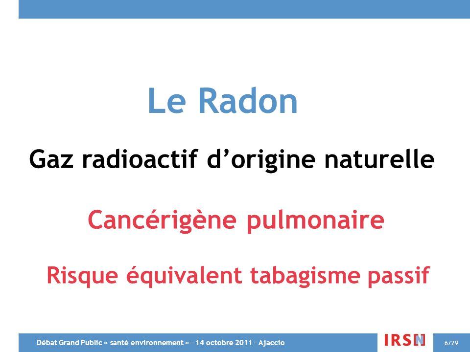 Débat Grand Public « santé environnement » – 14 octobre 2011 – Ajaccio 6/29 Le Radon Gaz radioactif dorigine naturelle Cancérigène pulmonaire Risque é