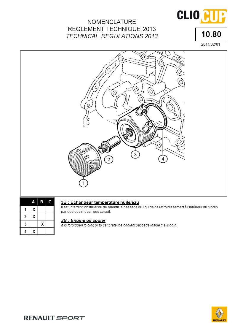 10.80 ABC 1X 2X 3X 4X 3B : Échangeur température huile/eau Il est interdit dobstruer ou de ralentir le passage du liquide de refroidissement à lintérieur du Modin par quelque moyen que ce soit.
