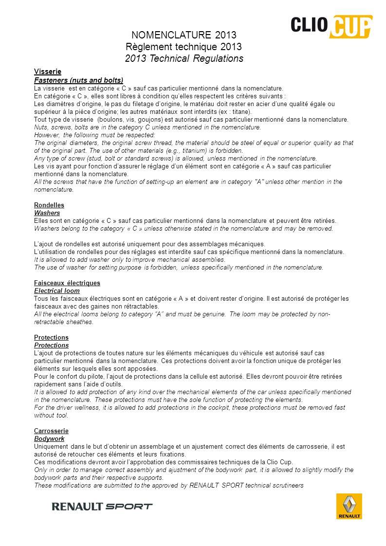 80.50 ABC 1X 2X 3X NOMENCLATURE REGLEMENT TECHNIQUE 2013 TECHNICAL REGULATIONS 2013 2011/02/01