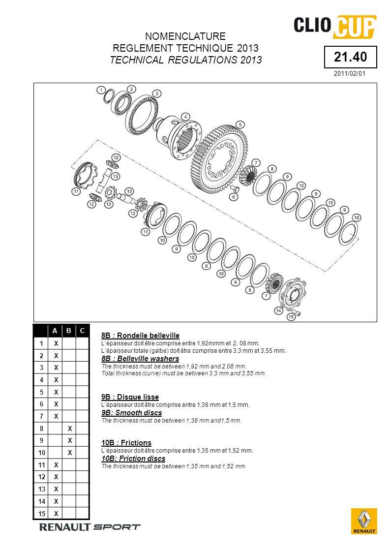21.40 ABC 1X 2X 3X 4X 5X 6X 7X 8X 9X 10X 11X 12X 13X 14X 15X 8B : Rondelle belleville Lépaisseur doit être comprise entre 1,92mmm et 2, 08 mm.