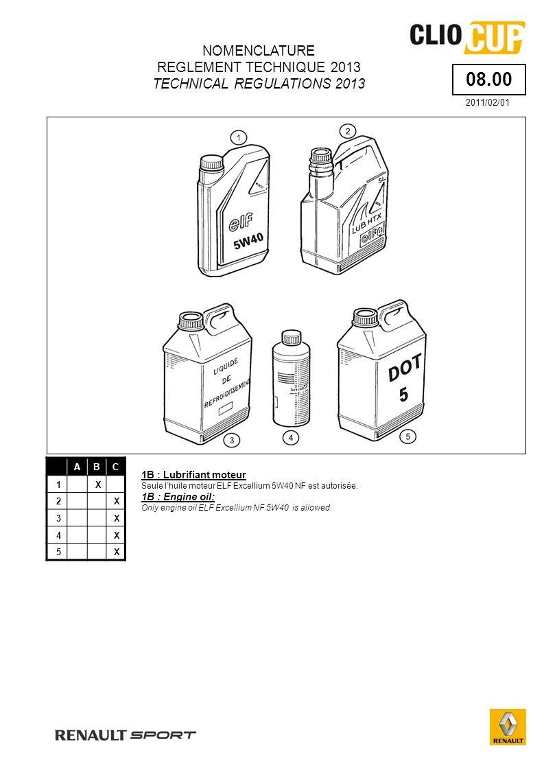 13.50 ABC 1X 2X 3X 4X 5X 6X 7X 10X 2B : Filtre à air Deux références de filtre à air sont autorisées.