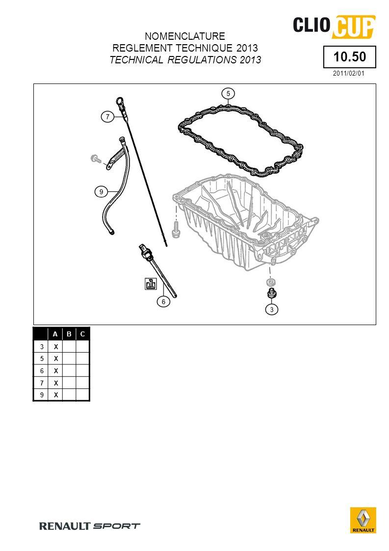 55.00 ABCABC 1X13X 2X14X 3X15X 4X16X 5X17X 6X 7X 8X 9X 10X 11X 12X 1B : Bouclier avant Renfort de fixation: Lutilisation du kit « renfort de fixation du bouclier avant » (BT_2010_X85CUP_02) commercialisé par Renault Sport est obligatoire.