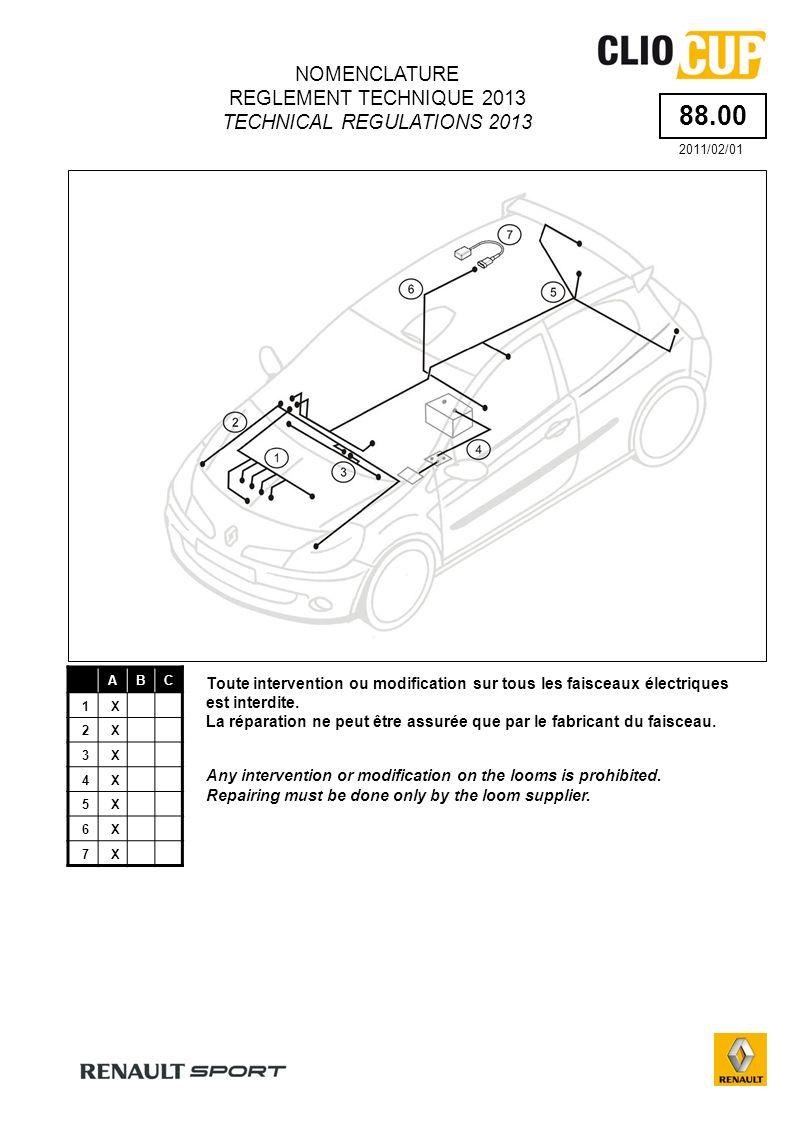 88.00 ABC 1X 2X 3X 4X 5X 6X 7X Toute intervention ou modification sur tous les faisceaux électriques est interdite.