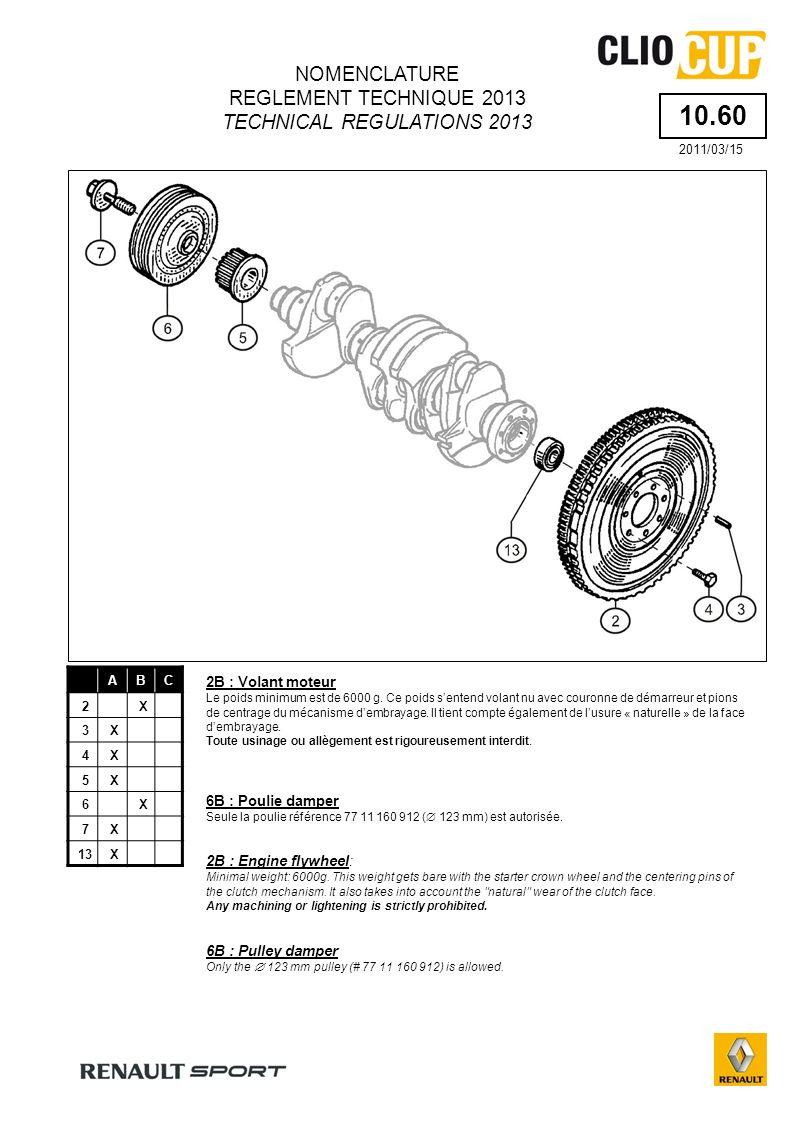 ARTICLE 5 - Moteur ARTICLE 5 - Engine Type de moteur autorisé RENAULT SPORT type F4R 832 (cylindrée : 1 998 cm 3 ) Authorized engine RENAULT SPORT F4R 832 type (cc : 1 998 cm 3 ) Maintenance du moteur RENAULT SPORT F4R 832 La commercialisation, lentretien et la réparation du moteur des véhicules engagés dans une RENAULT Clio Cup 2013, sont exclusivement assurés par RENAULT SPORT ou son partenaire motoriste.