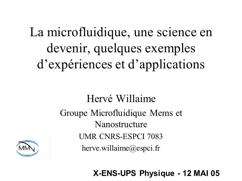 Plan Introduction Quelques notions de microfabrication La fluidique à petite échelle à travers des expériences de laboratoire conclusion