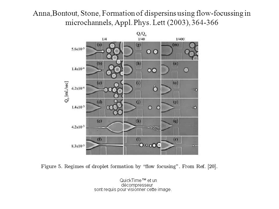 Anna,Bontout, Stone, Formation of dispersins using flow-focussing in microchannels, Appl. Phys. Lett (2003), 364-366