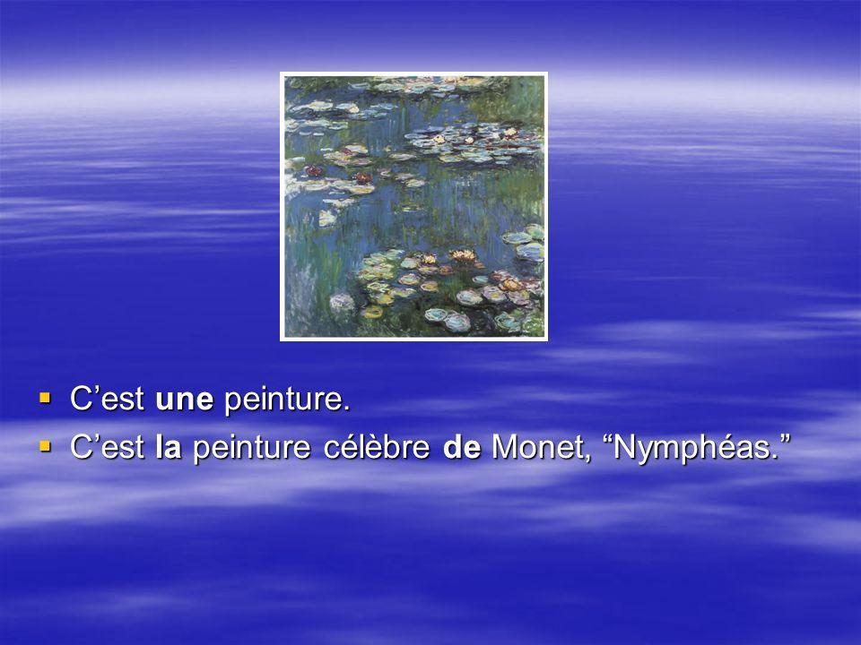 Cest une peinture. Cest une peinture. Cest la peinture célèbre de Monet, Nymphéas.