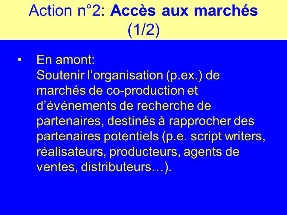 Action n°2: Accès aux marchés (1/2) En amont: Soutenir lorganisation (p.ex.) de marchés de co-production et dévénements de recherche de partenaires, destinés à rapprocher des partenaires potentiels (p.e.