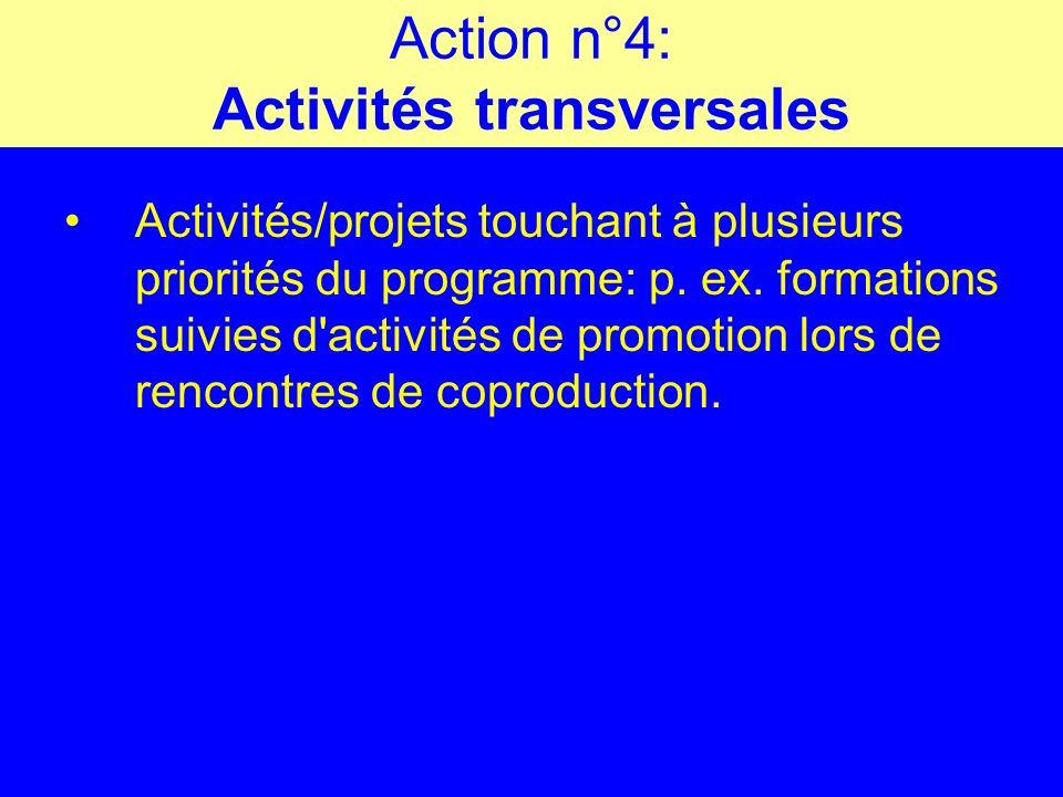 Action n°4: Activités transversales Activités/projets touchant à plusieurs priorités du programme: p.