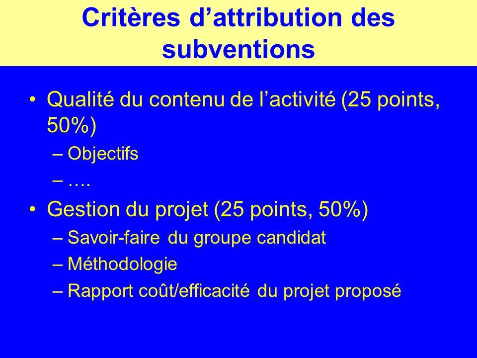 Critères dattribution des subventions Qualité du contenu de lactivité (25 points, 50%) –Objectifs –….
