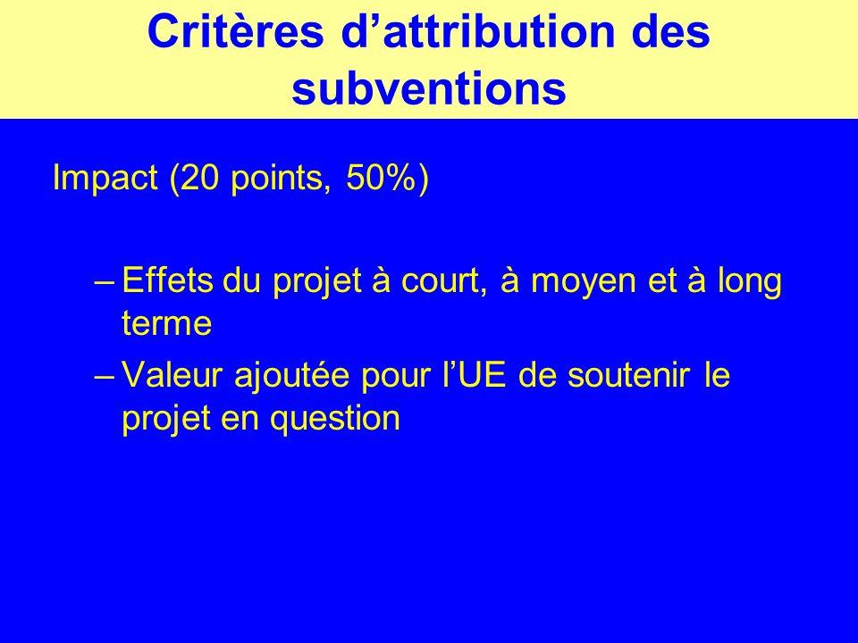 Critères dattribution des subventions Impact (20 points, 50%) –Effets du projet à court, à moyen et à long terme –Valeur ajoutée pour lUE de soutenir le projet en question