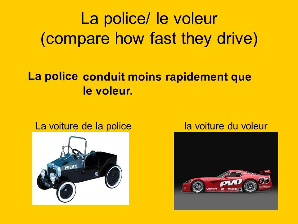 La police/ le voleur (compare how fast they drive) La police La voiture de la policela voiture du voleur conduit moins rapidement que le voleur.