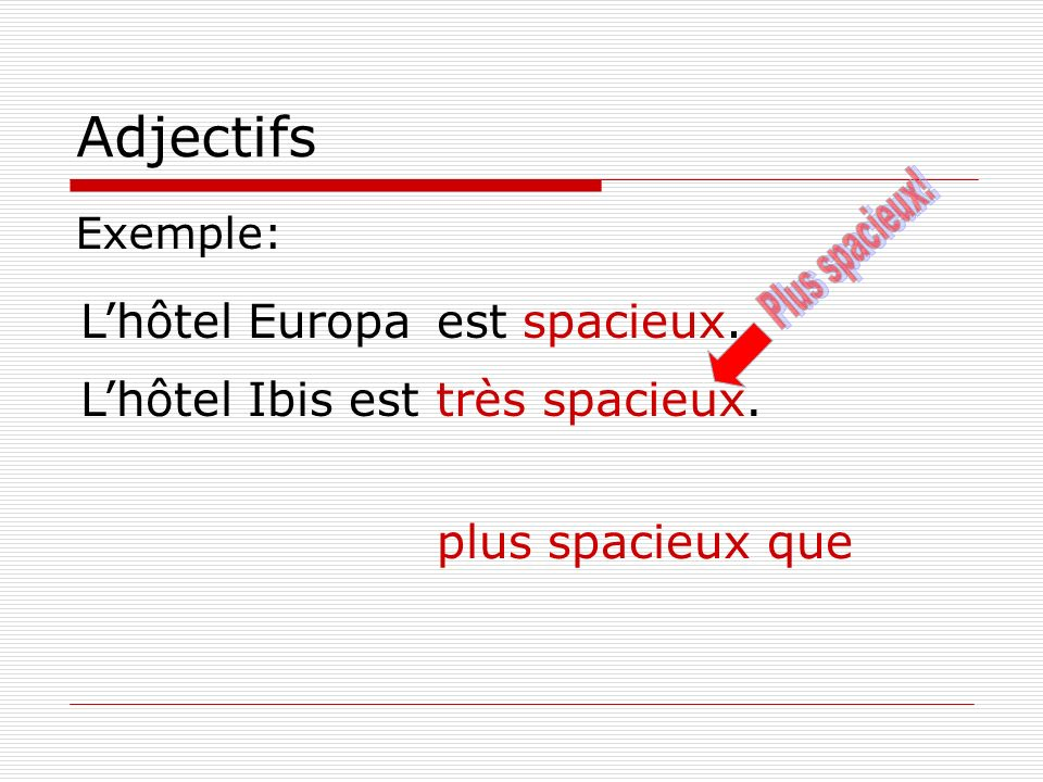 Exemple: plus spacieux que Lhôtel Europa Lhôtel Ibis est est spacieux. très spacieux.