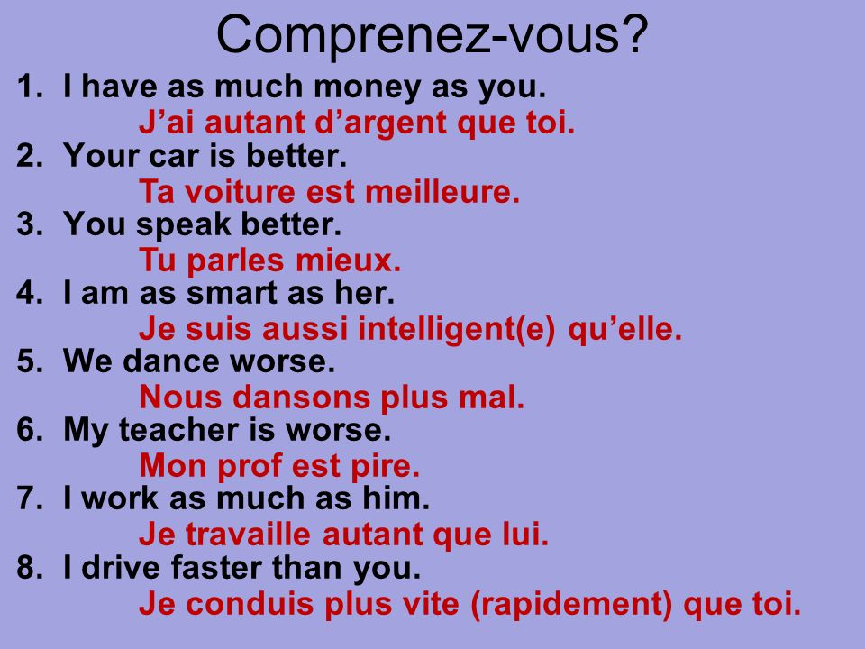 Comprenez-vous? 1. I have as much money as you. 2. Your car is better. 3. You speak better. 4. I am as smart as her. 5. We dance worse. 6. My teacher