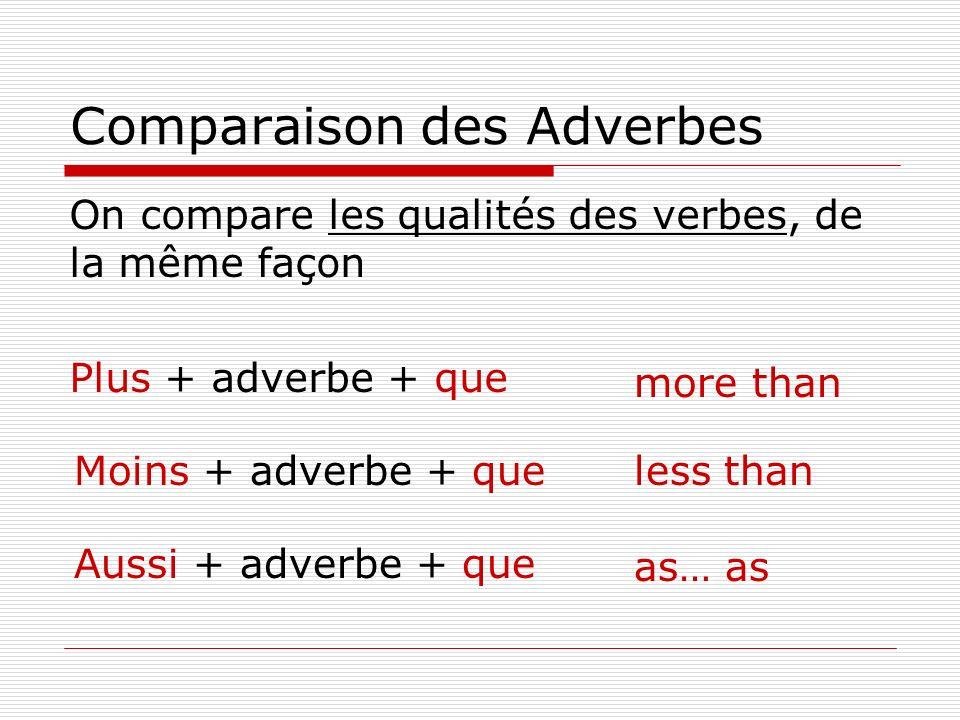 Comparaison des On compare les qualités des verbes, de la même façon Plus + adverbe + que more than less than as… as Moins + adverbe + que Aussi + adv