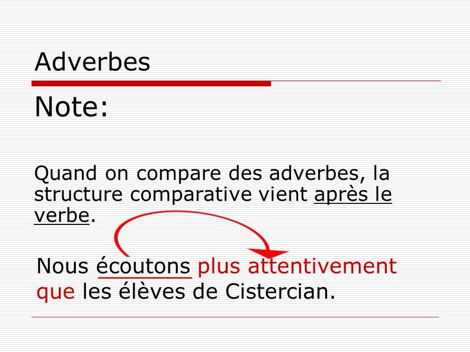 Adverbes Note: Quand on compare des adverbes, la structure comparative vient après le verbe. Nous écoutons plus attentivement que les élèves de Cister